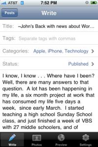 Using WordPress on the iPhone 3G