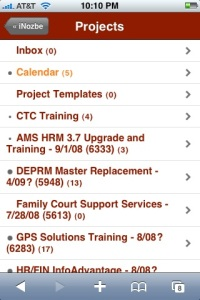 Project list as displayed on the iPhone