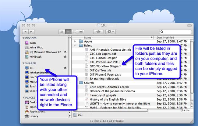 Using Finder to Share Files with iPhone