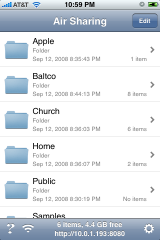 Folders displayed on iPhone after Airsharing from your Mac