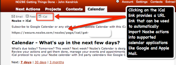 Import Nozbe Actions into Your Other Calendars