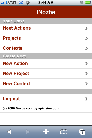 iNozbe Main Screen on iPhone