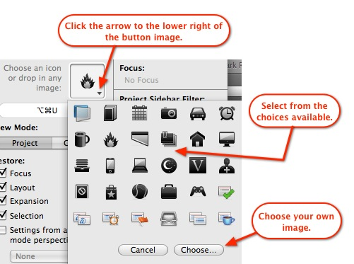 Selecting a button image.