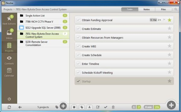 Viewing project task list in Nozbe for Windows.
